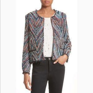 IRO Weird Tweed Chevron Blazer Jacket Size 10 42